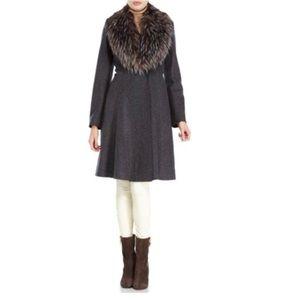 NWOT VERA WANG Charcoal Serena Faux Fur Trim Coat